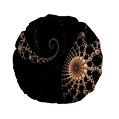 Fractal Black Pearl Abstract Art Standard 15  Premium Flano Round Cushions