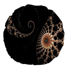 Fractal Black Pearl Abstract Art Large 18  Premium Flano Round Cushions