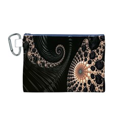 Fractal Black Pearl Abstract Art Canvas Cosmetic Bag (m)