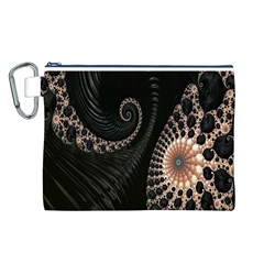 Fractal Black Pearl Abstract Art Canvas Cosmetic Bag (l)