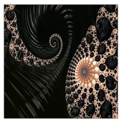 Fractal Black Pearl Abstract Art Large Satin Scarf (Square)