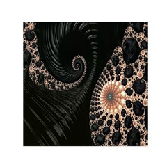 Fractal Black Pearl Abstract Art Small Satin Scarf (Square)