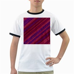 Stripes Course Texture Background Ringer T Shirts