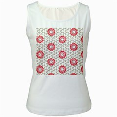 Stamping Pattern Fashion Background Women s White Tank Top