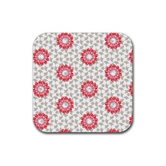Stamping Pattern Fashion Background Rubber Square Coaster (4 pack)