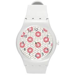 Stamping Pattern Fashion Background Round Plastic Sport Watch (M)