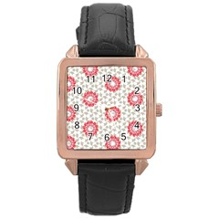 Stamping Pattern Fashion Background Rose Gold Leather Watch