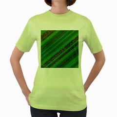 Stripes Course Texture Background Women s Green T Shirt