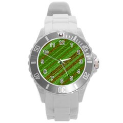 Stripes Course Texture Background Round Plastic Sport Watch (l)