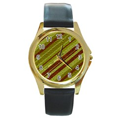 Stripes Course Texture Background Round Gold Metal Watch