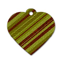 Stripes Course Texture Background Dog Tag Heart (one Side)