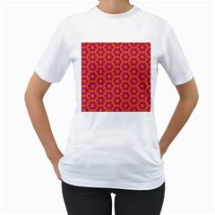 Pattern Abstract Floral Bright Women s T Shirt (white) (two Sided)