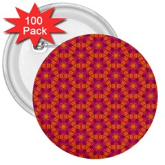 Pattern Abstract Floral Bright 3  Buttons (100 Pack)