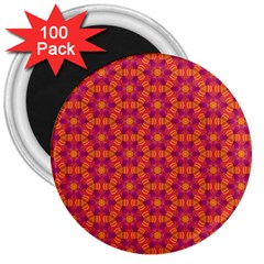 Pattern Abstract Floral Bright 3  Magnets (100 Pack)