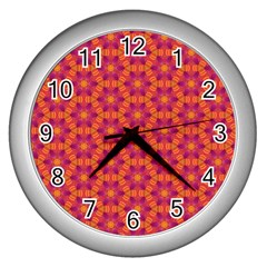 Pattern Abstract Floral Bright Wall Clocks (silver)