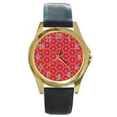Pattern Abstract Floral Bright Round Gold Metal Watch