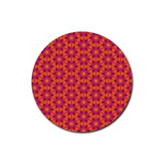 Pattern Abstract Floral Bright Rubber Round Coaster (4 pack)