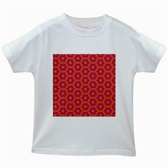 Pattern Abstract Floral Bright Kids White T-Shirts