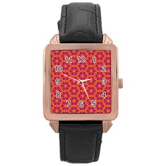 Pattern Abstract Floral Bright Rose Gold Leather Watch