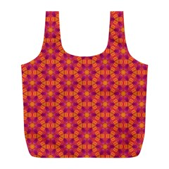 Pattern Abstract Floral Bright Full Print Recycle Bags (l)