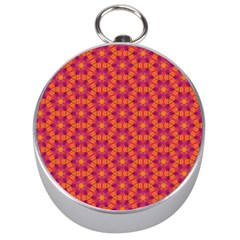 Pattern Abstract Floral Bright Silver Compasses