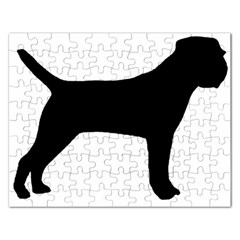 Border Terrier Silhouette Rectangular Jigsaw Puzzl