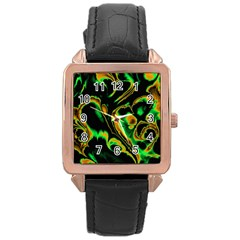 Glowing Fractal A Rose Gold Leather Watch