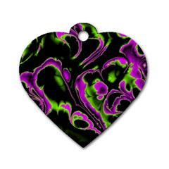 Glowing Fractal B Dog Tag Heart (One Side)