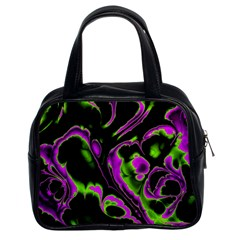 Glowing Fractal B Classic Handbags (2 Sides)