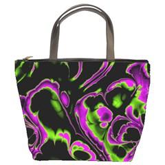 Glowing Fractal B Bucket Bags