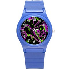 Glowing Fractal B Round Plastic Sport Watch (S)