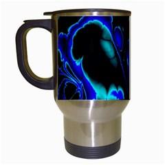Glowing Fractal C Travel Mugs (White)