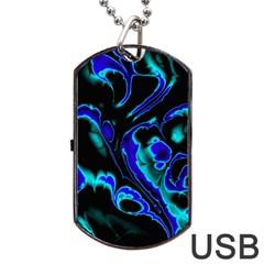 Glowing Fractal C Dog Tag USB Flash (One Side)