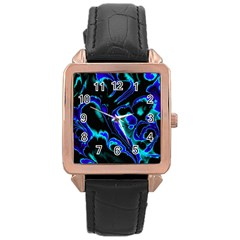 Glowing Fractal C Rose Gold Leather Watch