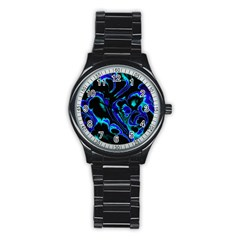 Glowing Fractal C Stainless Steel Round Watch