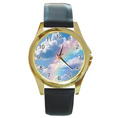 Sky pattern Round Gold Metal Watch