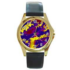 Sky pattern Round Gold Metal Watch