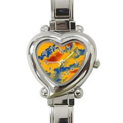 Sky pattern Heart Italian Charm Watch