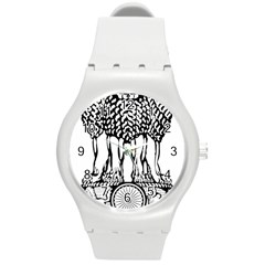 National Emblem of India  Round Plastic Sport Watch (M)
