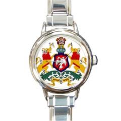 State Seal of Karnataka Round Italian Charm Watch