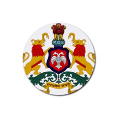 State Seal of Karnataka Rubber Round Coaster (4 pack)