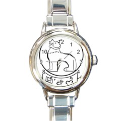Seal of Indian State of Manipur Round Italian Charm Watch