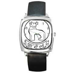 Seal of Indian State of Manipur Square Metal Watch