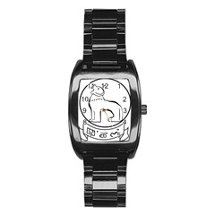 Seal of Indian State of Manipur Stainless Steel Barrel Watch