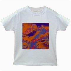 Sky pattern Kids White T-Shirts