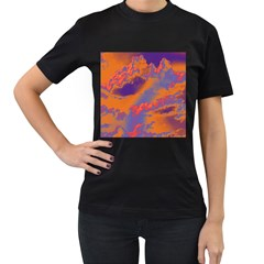 Sky pattern Women s T-Shirt (Black) (Two Sided)
