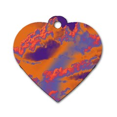 Sky pattern Dog Tag Heart (Two Sides)