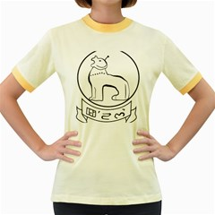 Seal of Indian State of Manipur  Women s Fitted Ringer T-Shirts