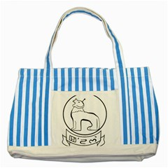 Seal of Indian State of Manipur  Striped Blue Tote Bag