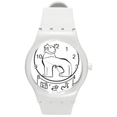 Seal of Indian State of Manipur  Round Plastic Sport Watch (M)